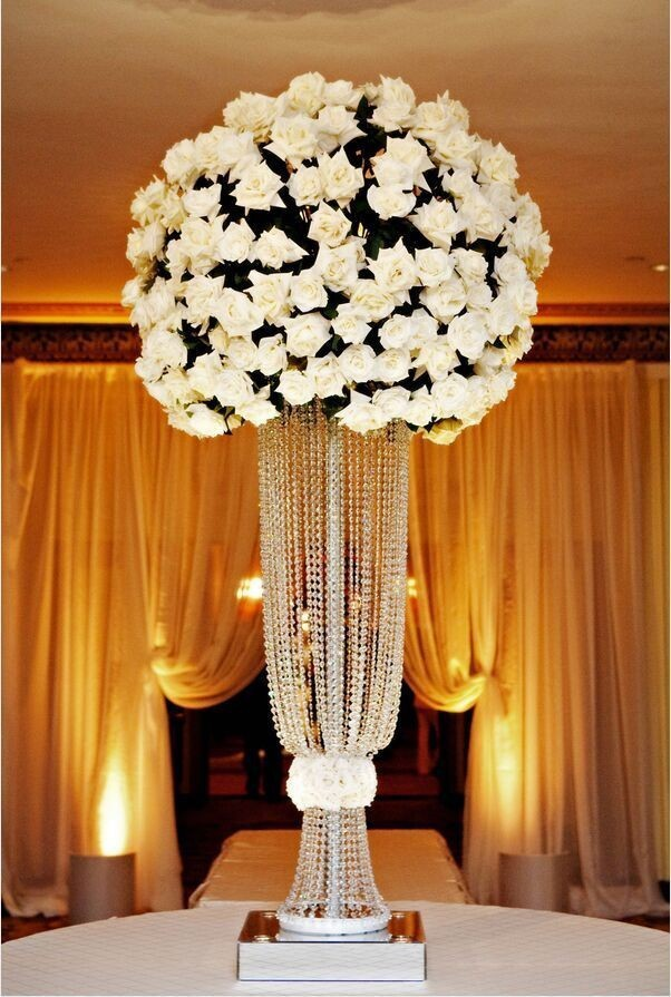Silver Crystal Wedding Centerpiece Pillar For T Stage Road Lead Flower Stand Candelabra Decoration