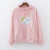new Pink/White Women Hoodies Japanese Sailor Moon Printed Pullover Girls Kawaii Cute Harajuku Hoodies Sweatshirt