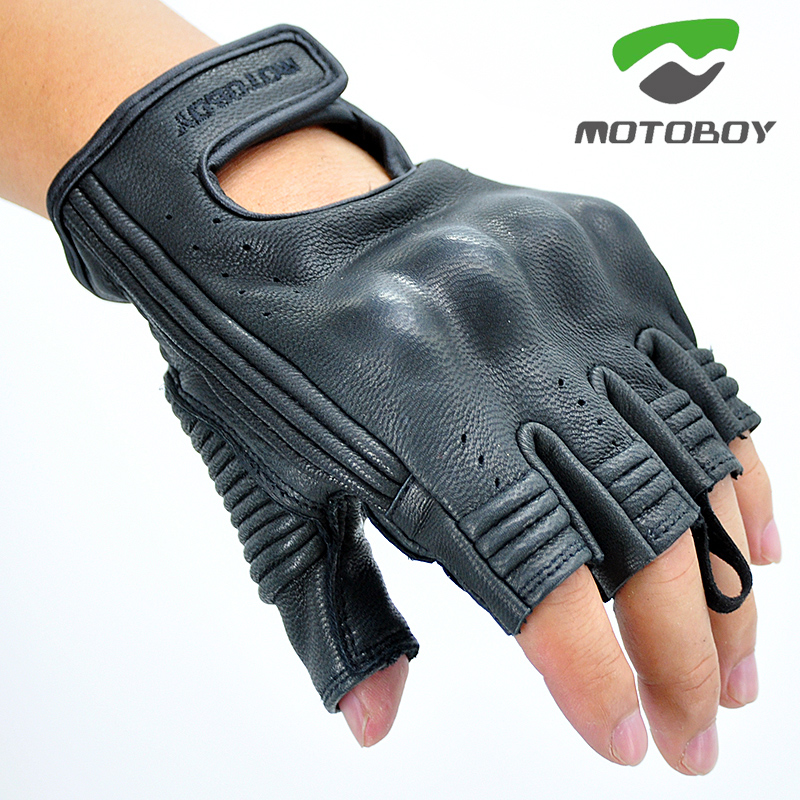 MOTOBOY Motorcycle Leather Gloves Moto Motocross Racing Gloves Motorbike Riding Half Finger Gloves Luva Couro Motoqueiro