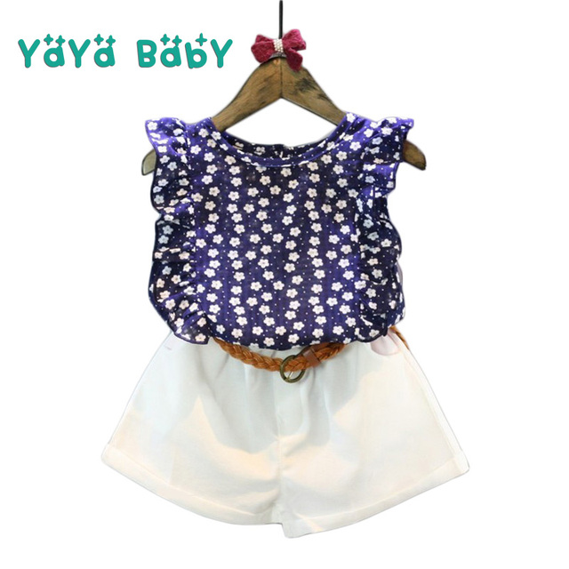 5ba388055 Summer Girls Clothes 2019 New Children Clothing Sets Floral Shirts Shorts  Belt 3pcs Casual Kids Suits for 2 3 4 5 6 Year Girls