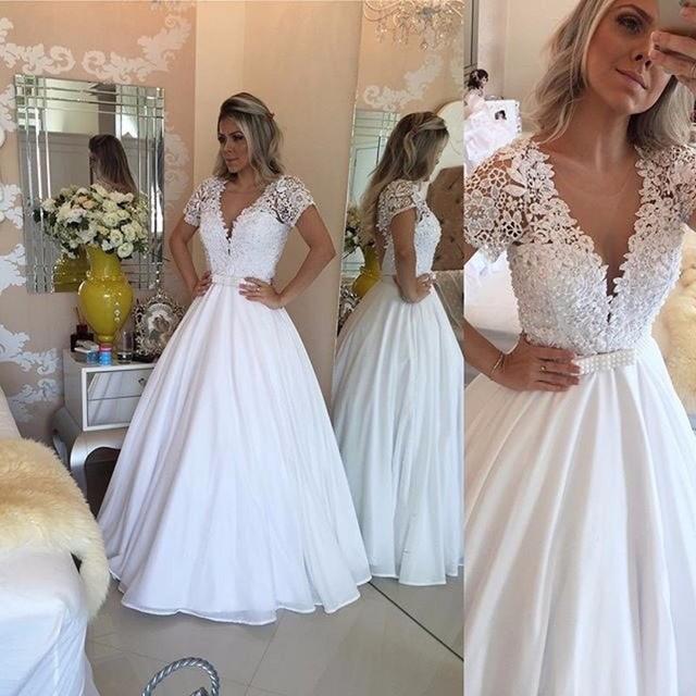 2017 blanco gasa vestido de novia de manga corta vestido de novia
