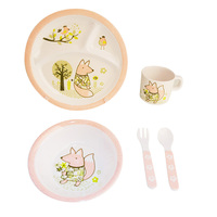 Baby 5pcs Dinnerware Set Fox Design Melamine Plate Bowl Sippy Cup Utensils For Girls Gifts Sisi