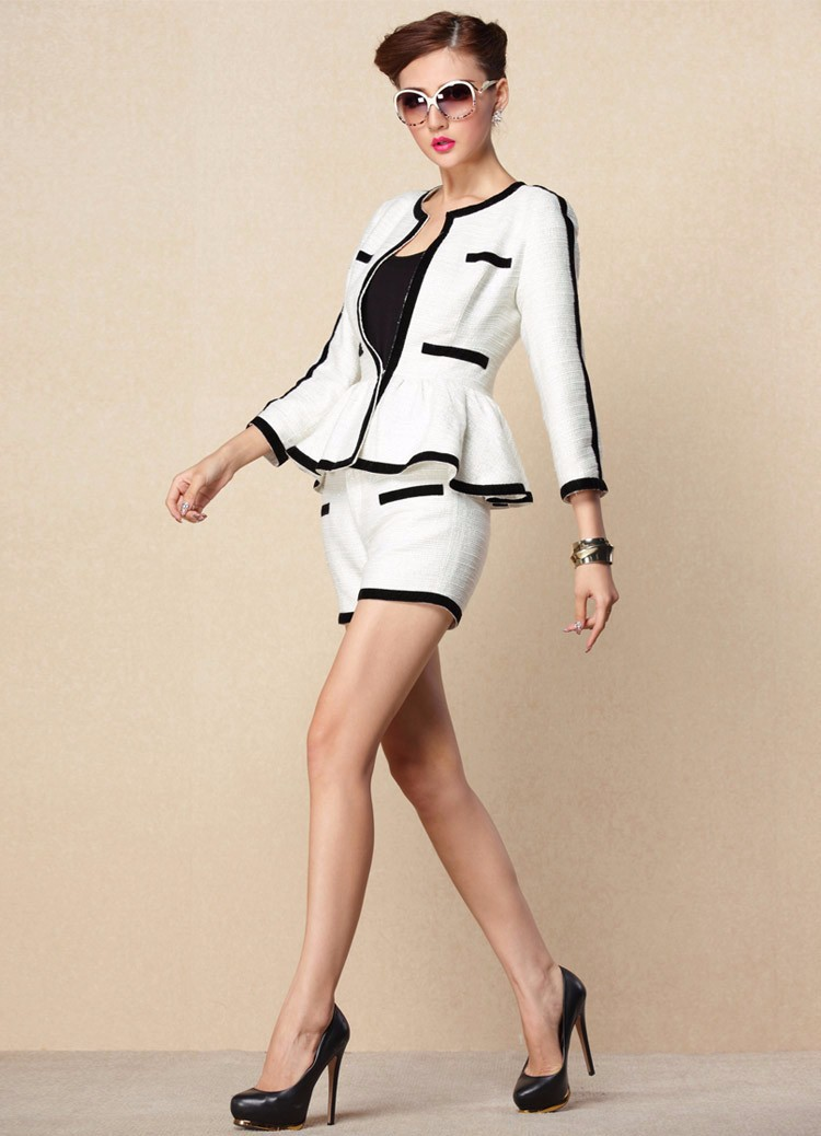 High-end Black White Patchwork Ruffle Decoration Blazer and Short Pants Women Suits Autumn 2015 (1)