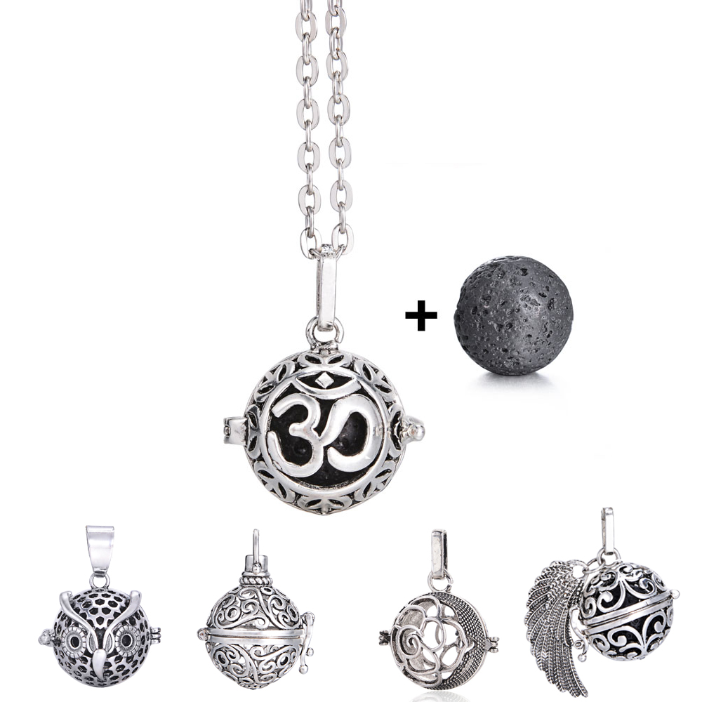 Vintage Antique Silver Essential Oil Perfume Diffuser Lockets Necklaces Fit 16mm Lava Stone Beads Yoga Pendants Necklace Jewelry