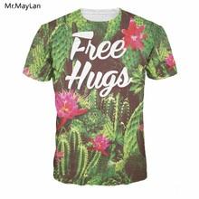 Green Plant Cactus Flowers 3D Print T-shirt Letters Free Hugs Printed Men/Women Hiphop Crewneck Tee T shirt Boys Creative Tshirt