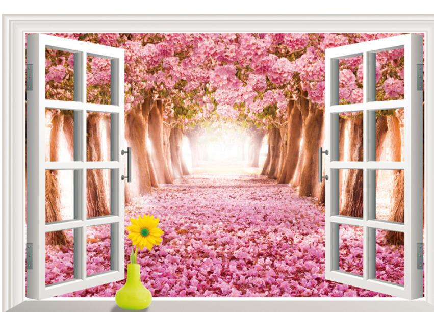 Aliexpress.com : Buy 3D Creative Beautiful Floral Cherry Blossoms Tree  Landscape Living Room Window Wallpaper Waterproof Wall Sticker Home Decor *  From ...