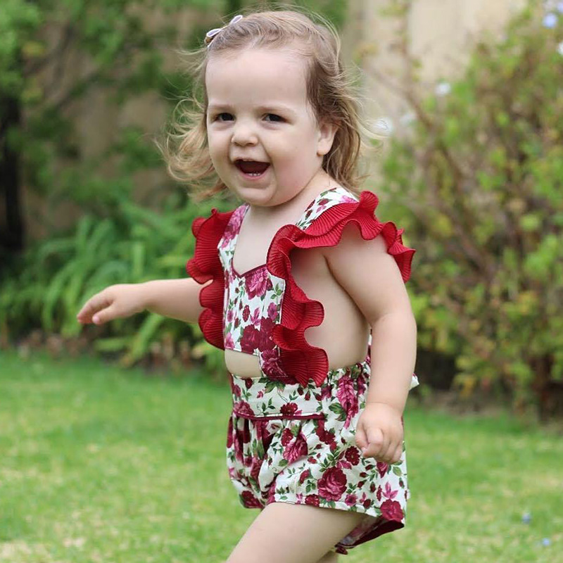2018 Fashion Summer Baby Girl Clothes Tiny Cottons Bodysuit Sleeveless Red Floral Jumpsuit Onesie