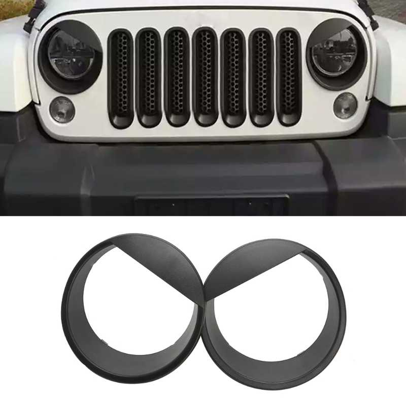 2x Bezels Front Light Koplamp Angry Bird Trim Cover ABS Voor Jeep Wrangler 2007-2015