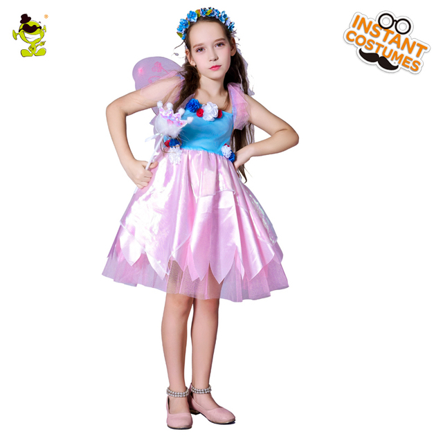 Girls Pink Fairy Costumes Party Butterfly Wings Kids Pretty Elf Fancy Dress  Children Beautiful Princess Performance Clothing