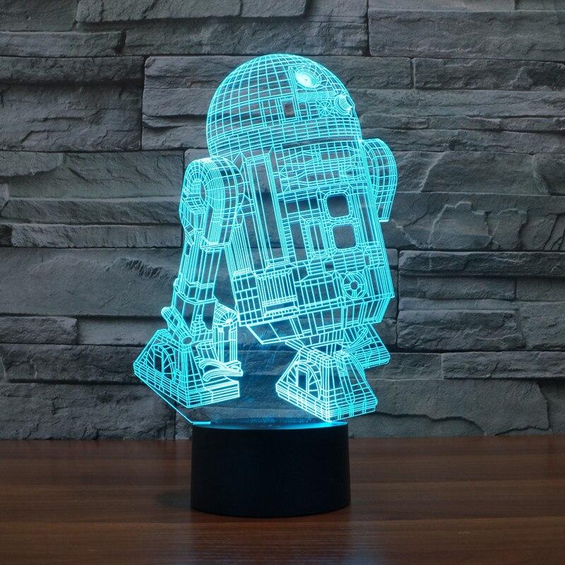 Szvfun Star Wars Lampara Led veilleuse bébé r2d2 robot Luminaria 3D lampe à Led Nachtlampje enfants Table de chevet lampes veilleuse