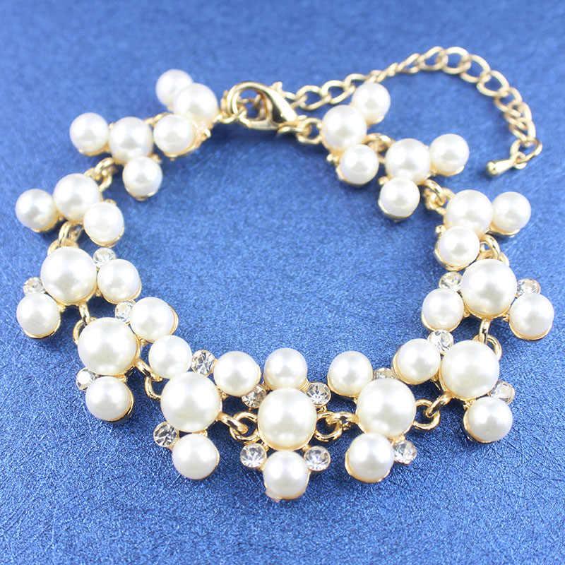 jiayijiaduo fashion imitation pearl gold-color jewelry set for women bridal wedding jewelry necklace earrings bracelet gift