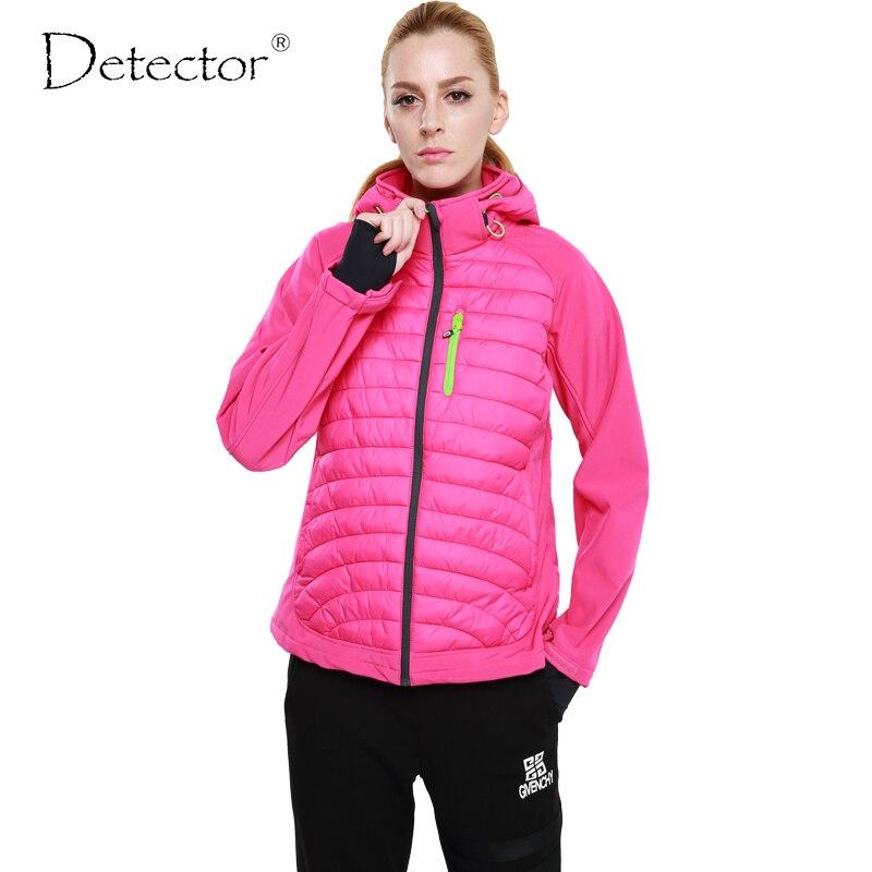 Detector 2016 Women Winter Sport Softshell Jacket Outdoor Windproof Waterproof Hiking Jacket Camping Warm Clothes