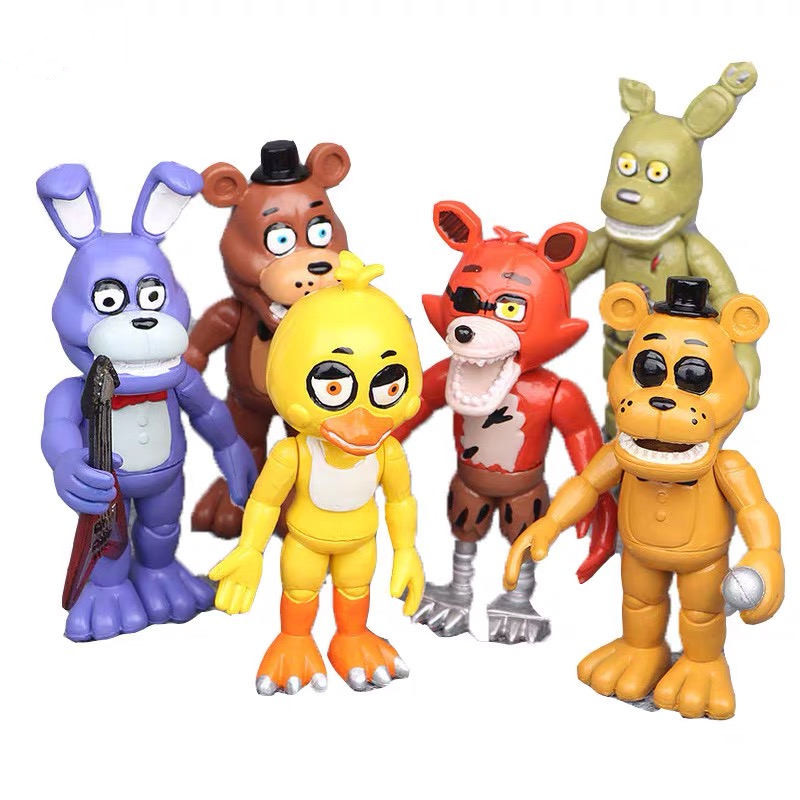 6pcs/set Five Nights at Freddy model Toys nights harem Fazbear Bear Action Doll pvc toy Figure Kids Gift