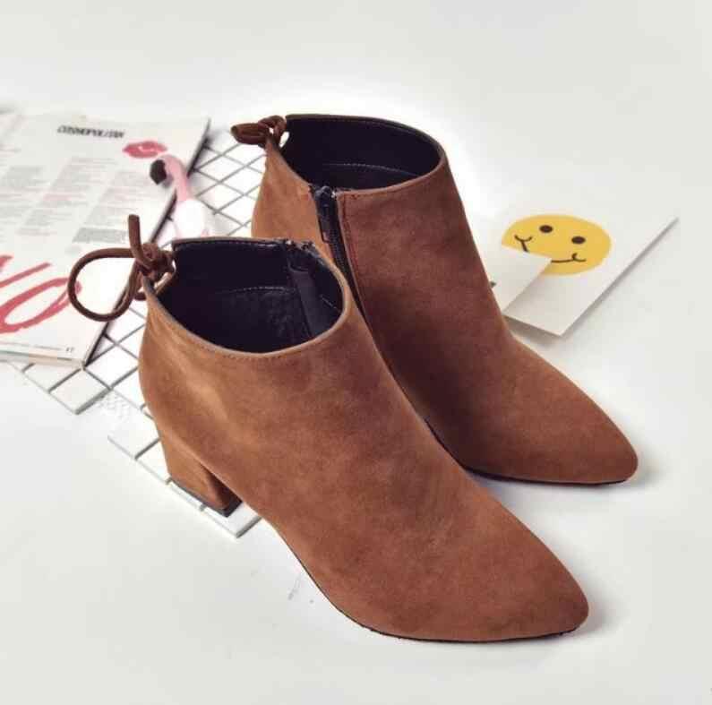 HUANQIU Sonbahar Kış moda ayakkabılar Kadın Akın Süet Deri Çizmeler Bayanlar Kalın Yüksek Topuk yarım çizmeler parti ayakkabıları Wyq170