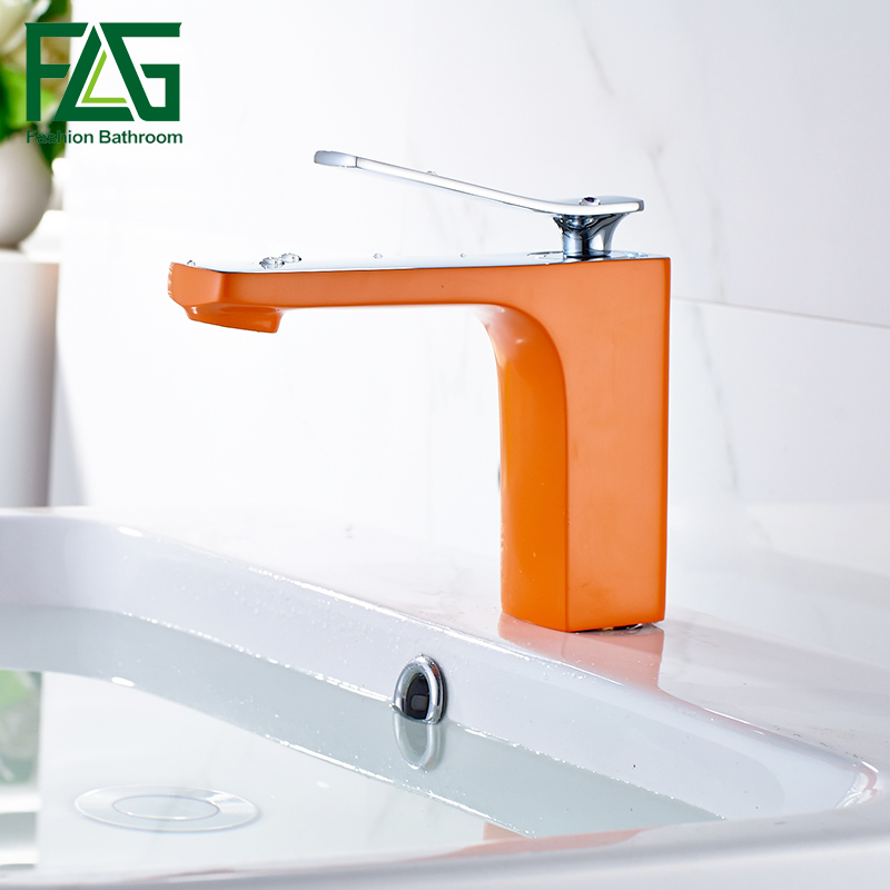 Modern New Bathroom Deck Mounted Chrome Brass Orange Colour Finished Basin Faucet Single Handle Sink Mixer Tap modern style golden color bathroom sink faucet single handle mixer tap solid brass deck mounted