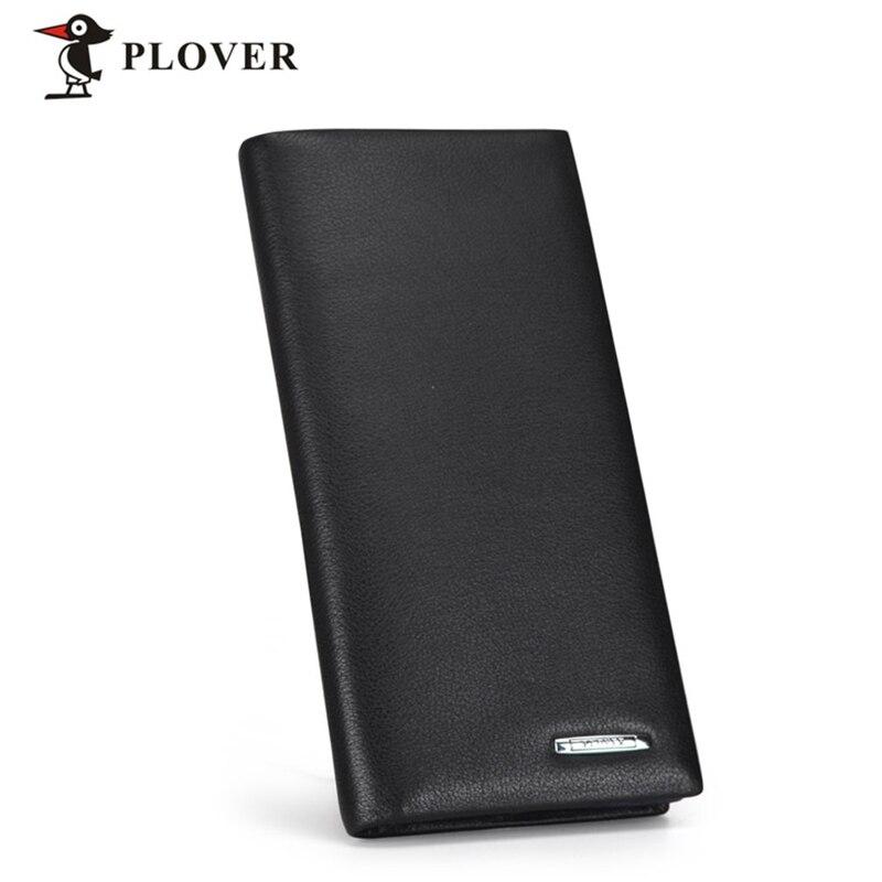 PLOVER Genuine Leather Men Wallets Brand Design Cowhide Leather Long Purse For Men Business Multi-Cards Holder Luxury Wallet