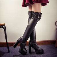 Fashion Thigh High Boots Sexy Women Lace Slip On Shoes Vogue Rough High Heels Over The