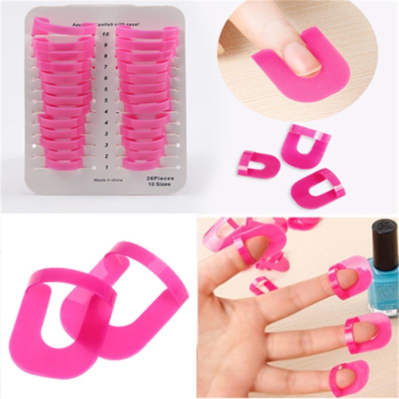 293117d4c8 26 Pcs/lot Nail Polish Edge Anti-Flooding Plastic Template Clip Manicure  Tools Sticker Tool Showy ...