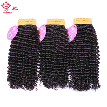 Queen Hair Products Indian Kinky Curly Weave Human Hair Bundles Natural Color Hair Extensions Double Weft Remy Hair Weave