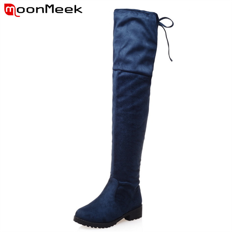 ФОТО Big size 34-43 hot fashion over the knee boots high quality contracted plain women boots square high heels solid winter boots