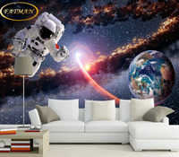 Custom 3D photo wallpaper Stereo Astronaut Earth Planet Space Museum Living Room Waterproof Extra Thick Mural