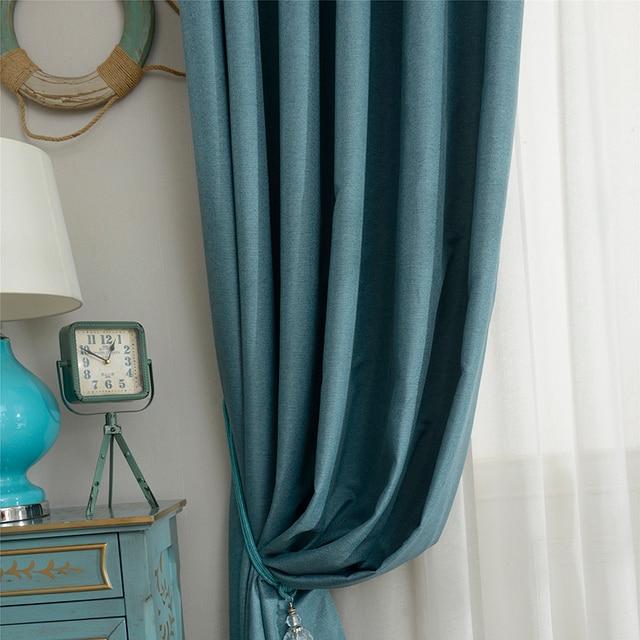 DSinterior 70%-85% di sole-ombreggiatura stile moderno di colore solido faux di lino tinta unita Blackout tenda per la finestra del soggiorno custom made