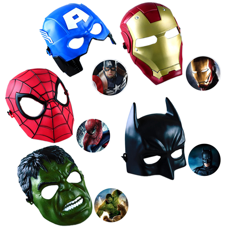 5Pcs/Lot Avengers Marvel Movie Mask America Captain Hulk Batman Spiderman Ironman Party Cosplay Boy Gift Children's Masks E