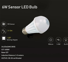 6W LED PIR SENSOR Bulb Smart Lamp Human bulb sensor E27 base high quality special selling