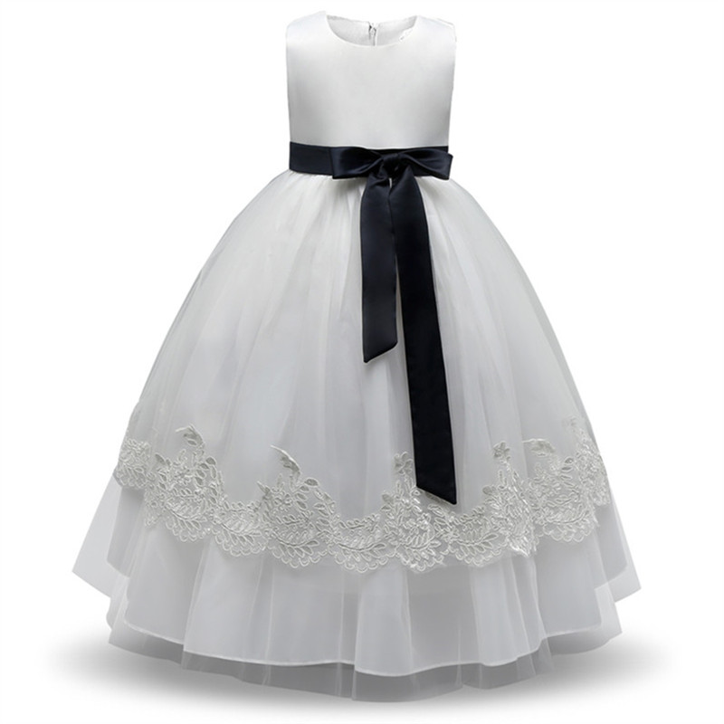 Baby Girl Dress 2017 New Lace Solid Children Dresses For 4-9 Years Baby Girl Clothing Wedding And Party Dress Sleeveless Summer summer 2017 new girl dress baby princess dresses flower girls dresses for party and wedding kids children clothing 4 6 8 10 year