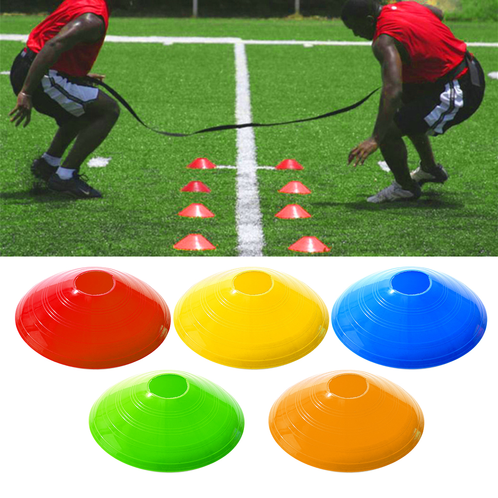 10pcs Soccer Training Obstacle Round Cones Marker Discs Sports Equipment Fitness Agility Training Team Sports Game Accessories