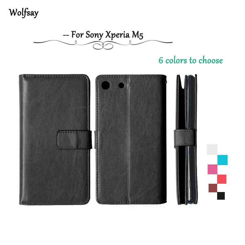 Wolfsay Flip leather Case For Sony Xperia M5 Wallet Case For Sony Xperia M5 cover For Sony M5 E5603 E5606 E5653 Silicone Holder