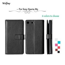 Wolfsay Flip leather Case For Sony Xperia M5 Wallet Case For Sony Xperia M5 cover For Sony M5 E5603 E5606 E5653 Silicone Holder<(China)