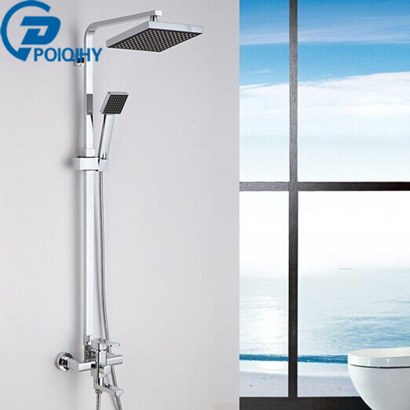 POIQIHY Wall Mounted Chrome Shower Faucet Bathroom ABS Rainfall Shower Head With Handheld Sprayer Bathroom Mixer Tap 53203 bathroom rainfall wall mounted with handheld shower head faucet set mixer