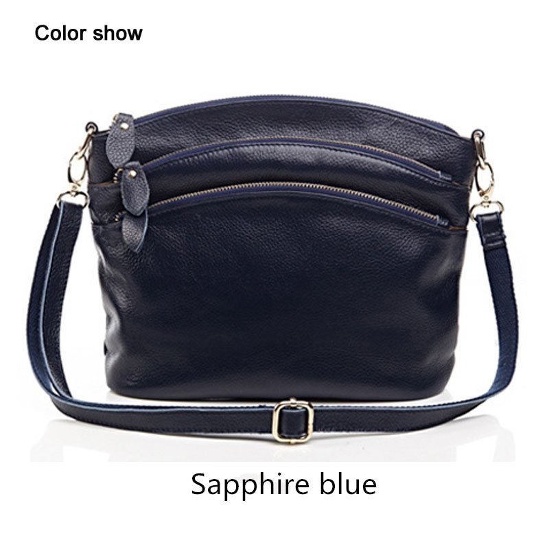 First layer cow leather shoulder bags women mummy casual messenger bag with 3 zipper pockets 4
