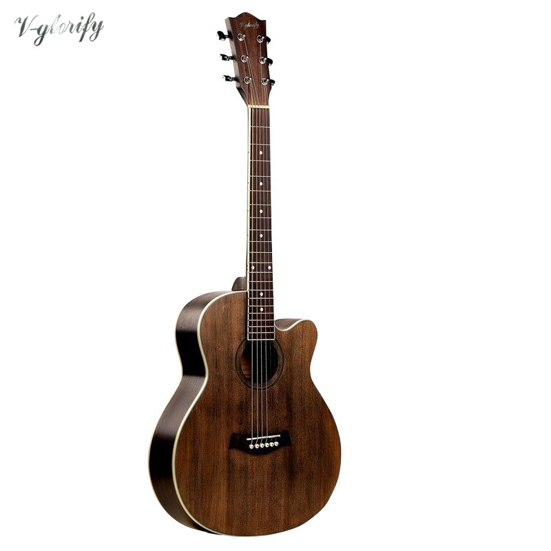 купить 37inch Mini Cutway Guitar Acoustic Electric Guitar with A Grade Engelmann Spruce Top онлайн