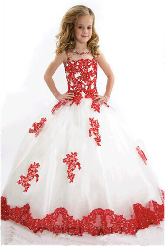 Girl Kids Pageant Dresses Bridesmaid Party Princess Gown Formal ...