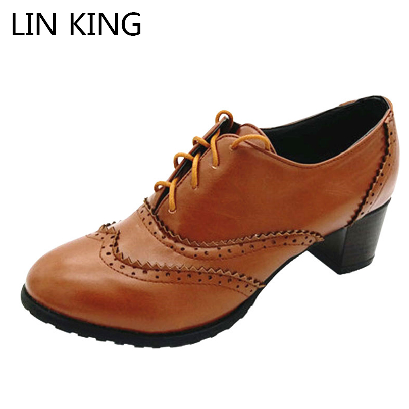 LIN KING Spring Vintage Woman Lolita Shoes Lace Up Thick Heel Women Single Shoes Big Size 34-43 High Heels Female Oxfords Shoes bucket shaped skull hand halloween tote bag