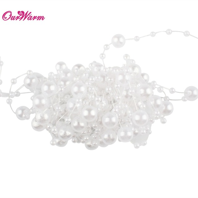 5 Meters Fishing Line Artificial Pearls Beads Chain Garland Flowers Wedding Decoration Event Party Supplies Beige/White/Pink