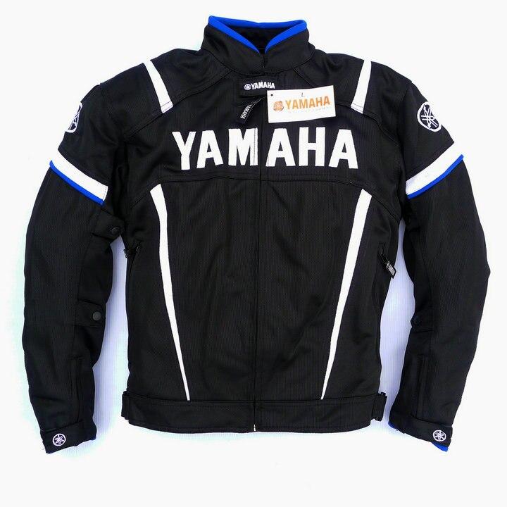 Maille d'été moto rcycle vestes moto Racing Vestes Coupe-Vent pour Yamaha moto r Avec 5 pièces Protecteur Hommes Veste Chaqueta Bleu