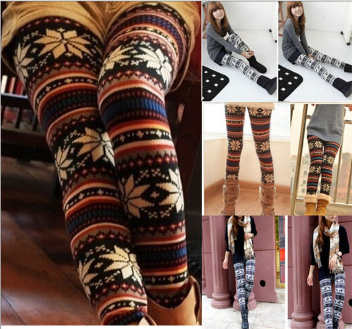 Women Xmas Snowflake Reindeer Knitted Leggings Skinny Capris Winter Warm Floral Printed Pants