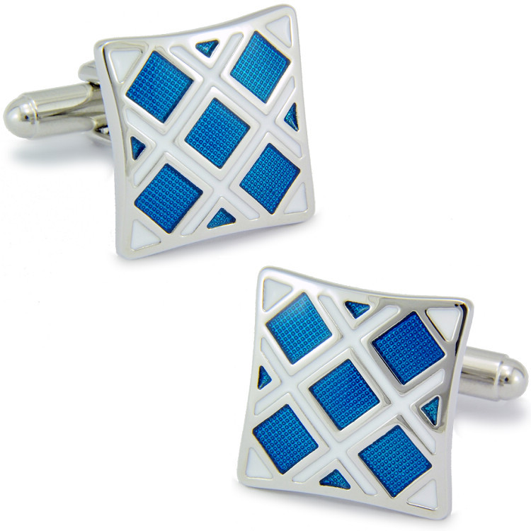 SPARTA High quality metal +  Enamel classic blue checked pattern cufflinks men's Cuff Links + Free Shipping !!!