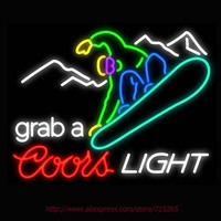 Neon Sign Coors Light Snowboarder Real Glass Tube Handcrafted Neon Signs Custom LOGO Recreation Windows Signs
