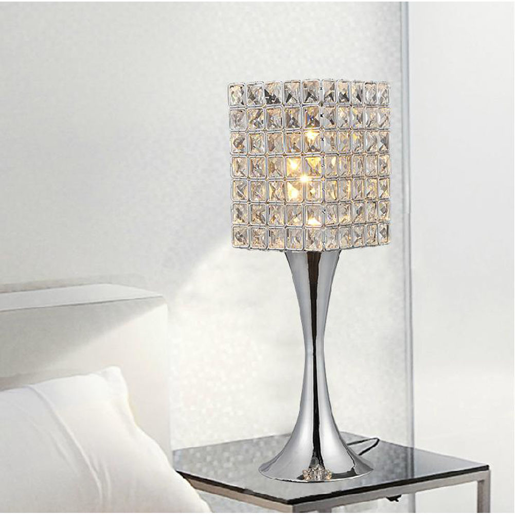Modern Table Lamp K9 Crystal Cube Lampshade 140mm*450mm Art Luminaire  Decoration Bedroom Bedside Desk Light In Table Lamps From Lights U0026 Lighting  On ...