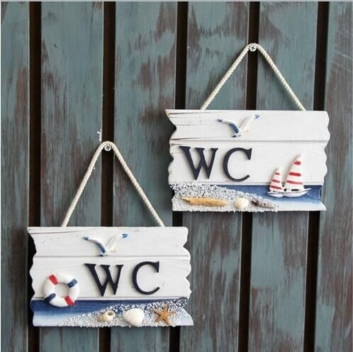 Wooden Door Sign Nautical Decor WC Toilet Signs Wall Boat Ship Beach Hanging  Ornament Plaques Signs Home Decor. Hanging Bathroom Sign Promotion Shop for Promotional Hanging