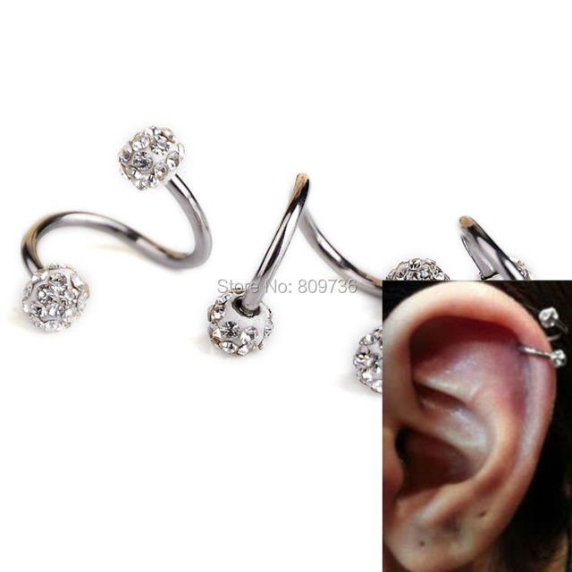18g Gauge Surgical Steel Crystal Double Twisted Helix Ear Cartilage Earring Piercing Body Jewelry Labret