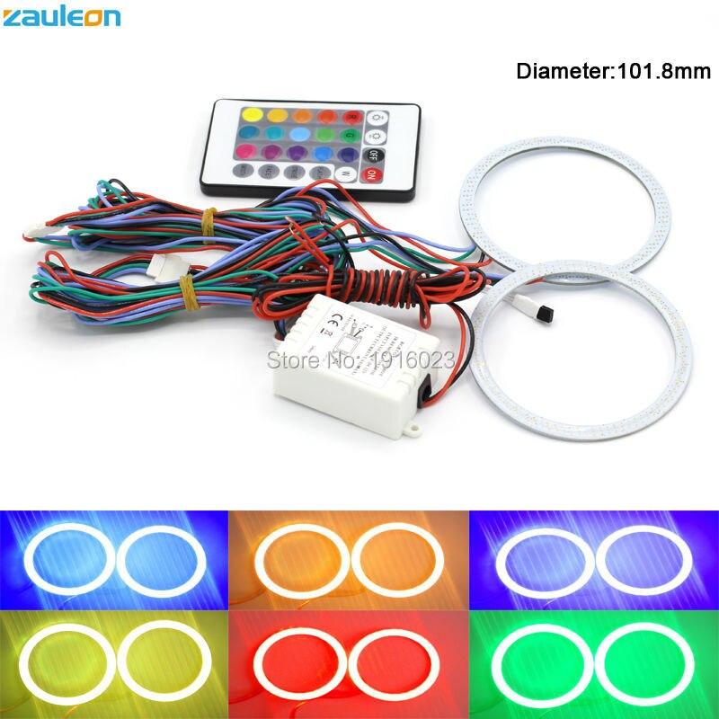 2 шт. RGB Ангельские глазки 101.8 мм удара свет DRL Беспроводной ИК контроллер для Фары для автомобиля туман лампы мотоцикл свет ...