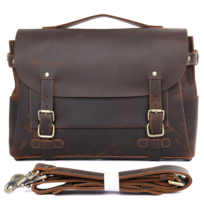 Men Real Cow Leather Business Travel 14 quot Laptop Hand Bag for Man Big Vintage Casual Anti Theft Shoulder Brand Designer Bags