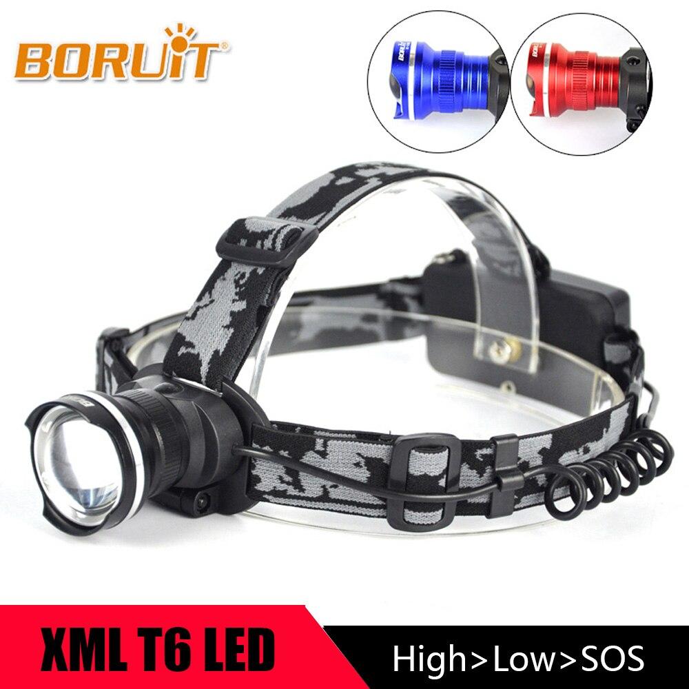 BORUIT Portable 3 Modes XM-L T6 LED Zoomable Phare lampe de Poche Front Chef Torche 18650 Camping De Pêche Accessoires