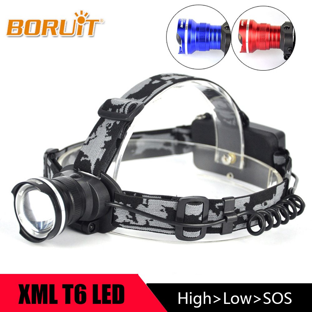 BORUIT Zoomable 3 Modes Headlight 1800LM XM-L T6 LED Headlamp Portable led Flashlight 18650 Head Torch with Rechargeable Battery