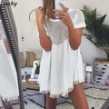 2016 Summer New Mesh Top Lace Tee Shirt Women Net patchwork T Shirt Short Sleeve Stitching Top Femme